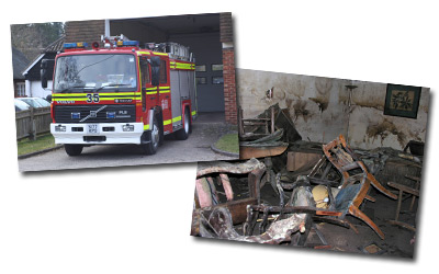 Fire engine and flood damaged room